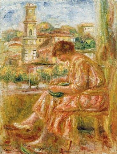 Auguste Renoir: Frau am Fenster mit Blick auf die Altstadt von Nizza (Femme à la Fenêtre avec Vue sur le Vieux Nice). 1918