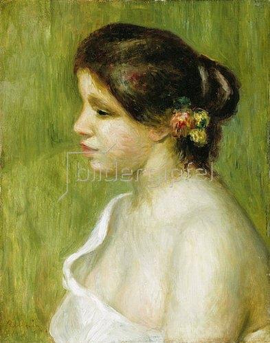 Auguste Renoir: Brustbild eines Mädchens mit Blumen an ihrem Ohr (Buste de Jeune Fille à l'Oreille Fleurie). 1898