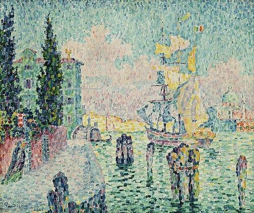 Paul Signac: Das grüne Haus, Venedig (La Maison Verte, Venise). 1905