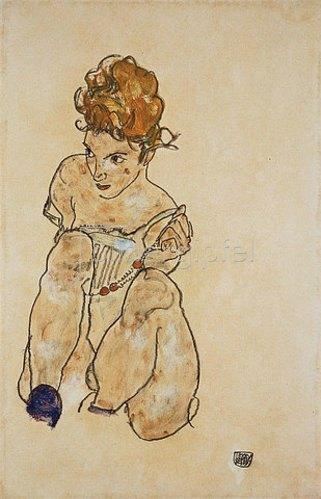 Egon Schiele: Sitzendes Mädchen in Unterkleid. 1917