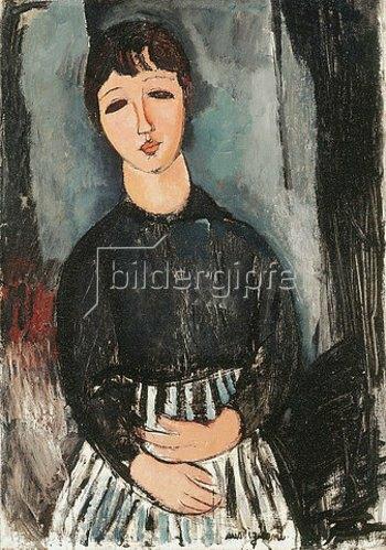 Amadeo Modigliani: Eine Dienerin in gestreifter Schürze (La Servante au Tablier Rayé). 1916