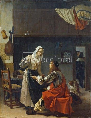 Frans van Mieris d.Ä.: Liebeswerbung. 1658