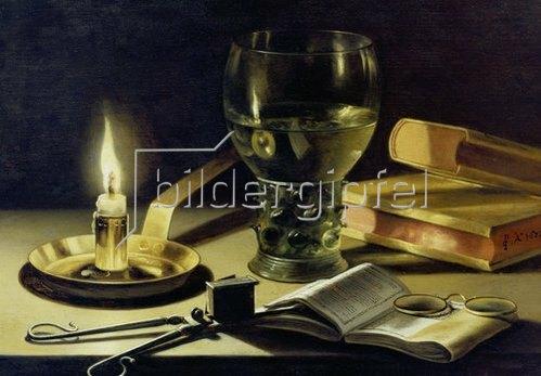 Pieter Claesz.: Stilleben mit brennender Kerze. 1627.