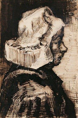 Vincent van Gogh: Kopf einer Bäuerin, Blick nach rechts. 1884