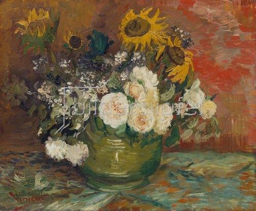 Vincent van Gogh: Schale mit Sonnenblumen, Rosen und anderen Blumen. 1886