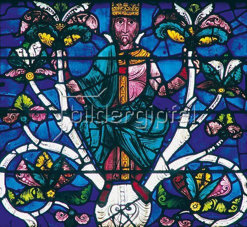 Französisch: Westfenster mit dem Baum Jesse, die Abstammung Jesu zeigend. Um 1150. Detail: David