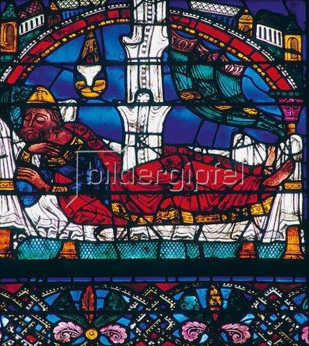 Französisch: Westfenster mit dem Baum Jesse, die Abstammung Jesu zeigend. Um 1150. Detail: Schlafender Jesse.