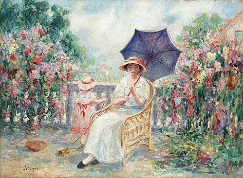 Henri Lebasque: Junge Frau und ein kleines Mädchen auf einer Terrasse (Jeune Fille et Fillette sur la Terrasse). 1914-15
