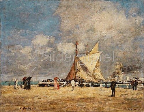 Eugène Boudin: Auf dem Hafendamm in Deauville (Deauville, sur la Jetée). 1889