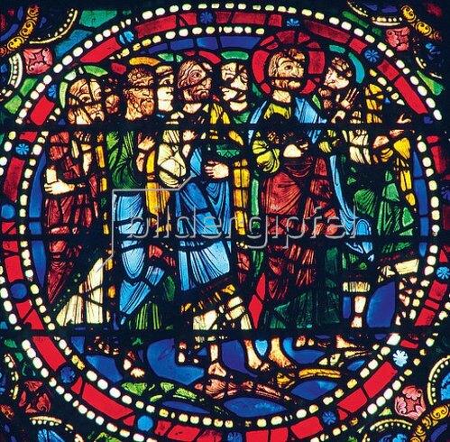 Französisch: Mittleres Westfenster mit Kindheit und Leben Christi. Um 1145-1155. Detail: Die Jünger begleiten Christi nach Jerusalem.