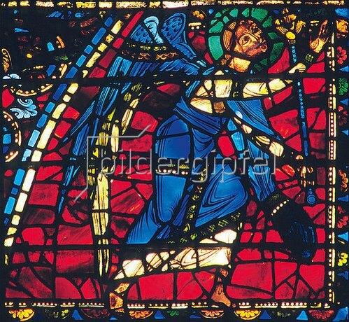 Französisch: Mittleres Westfenster mit Kindheit und Leben Christi. Um 1145-1155. Detail: Engel.