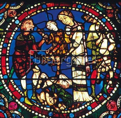 Französisch: Mittleres Westfenster mit Kindheit und Leben Christi. Um 1145-1155. Detail: Der Kindermord in Bethlehem.