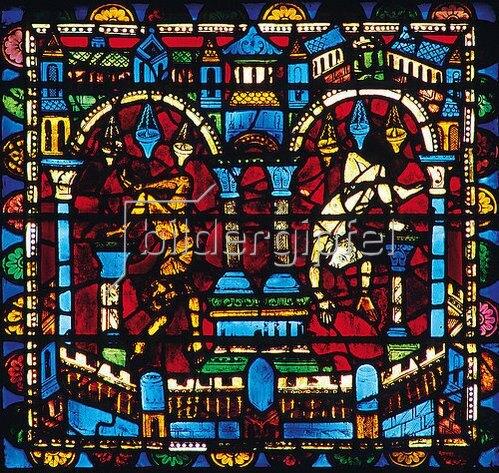 Französisch: Mittleres Westfenster mit Kindheit und Leben Christi. Um 1145-1155. Detail: Tempel mit stürzenden Dämonen.
