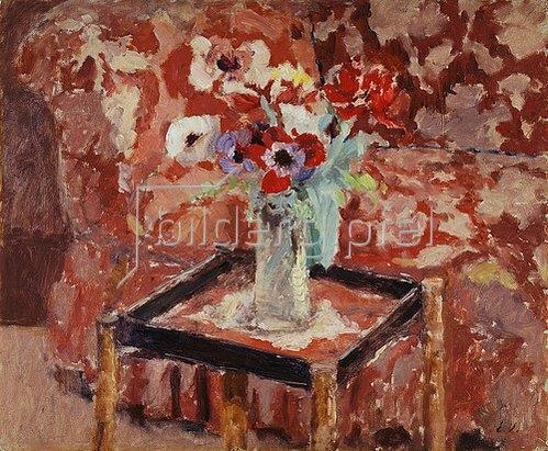 Edouard Vuillard: Vase mit Anemonen auf einem Tisch. Um 1906