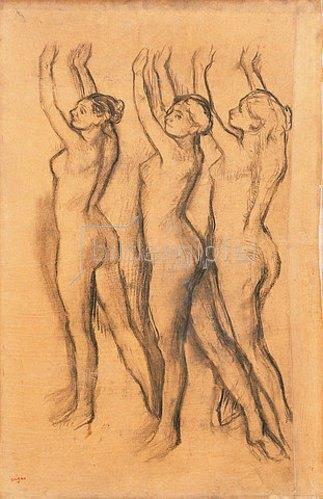 Edgar Degas: Drei Tänzerinnen mit erhobenen Armen in Trikots (Trois Danseuses en Maillot, les Bras Levés).