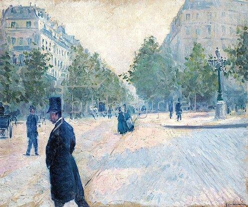 Gustave Caillebotte: Der Place Saint-Augustin bei diesigem Wetter (La Place Saint-Augustin, temps brumeux). 1878