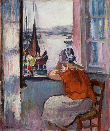 Henri Lebasque: Junge Frau am Fenster vor der Insel Yeu.