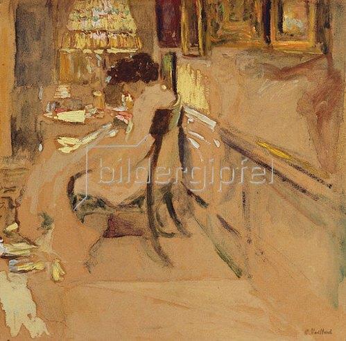 Edouard Vuillard: Madame Hessel beim Nähen unter einer Lampe. Um 1905