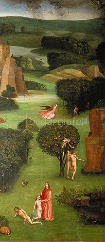 Hieronymus Bosch: Weltgerichts-Triptychon. Detail des linken Flügels: Erschaffung Evas, Sündenfall.
