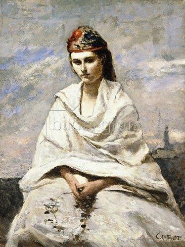 Jean-Baptiste Camille Corot: Eine junge Griechin, in weiß gekleidet (La Jeune Grecque drapée de blanc). Um 1868-70
