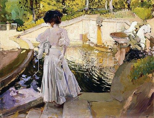 Joaquin Sorolla: Maria sieht den Fischen zu, Granja (Maria mirando a los Peces, Granja). 1907