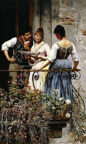 Eugen von Blaas: Auf dem Balkon. 1889