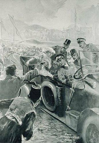 Felix Schwormstädt: Das Attentat auf den Erzherzog-Thronfolger Franz Ferdinand von Österreich und seine Gemahlin in Sarajewo am 28. Juni 1914. Der Attentäter Gavrilo Princip schießt auf das Thronfolgerpaar. 1914.