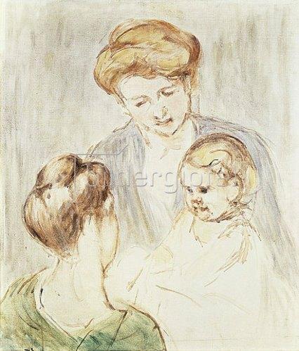 Mary Cassatt: Lächelndes Baby mit zwei jungen Mädchen.