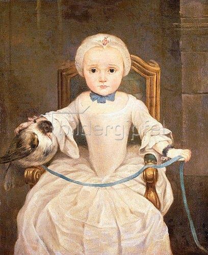 Christian Lindner: Porträt eines Mädchens in einem elfenbeinfarbenen Kleid und einer Taube.