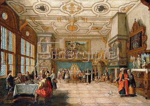 Nicolas de Gyselaer: Lazarus betritt einen Festsaal, wo ein Bankett stattfindet. 1622