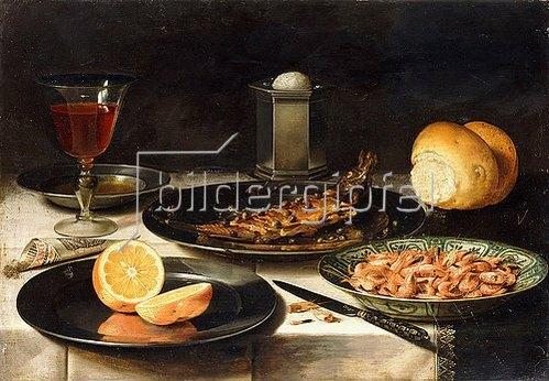 Clara Peeters: Ein Hering mit Kapern, eine aufgeschnittene Orange und eine Schale mit Krabben.