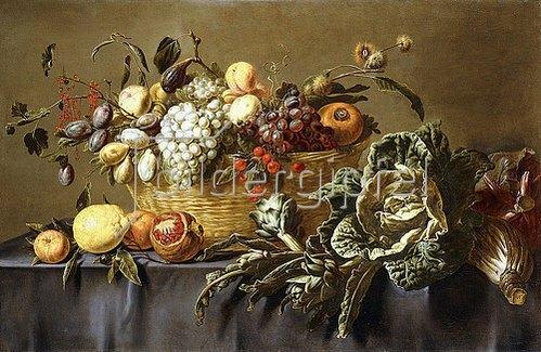 Adriaen van Utrecht: Ein Korb mit Früchten auf einem Tisch. Um 1635