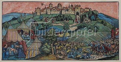 Erhard Schön: Die Belagerung der Bergfeste Bethulia. Um 1520