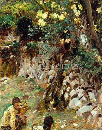 John Singer Sargent: Mädchen beim Blumen pflücken, Valdemosa, Mallorca.