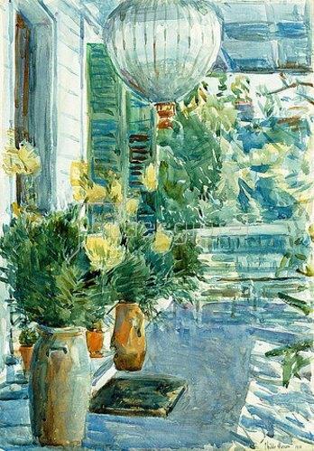 Frederick Childe Hassam: Die Veranda des alten Hauses. 1912