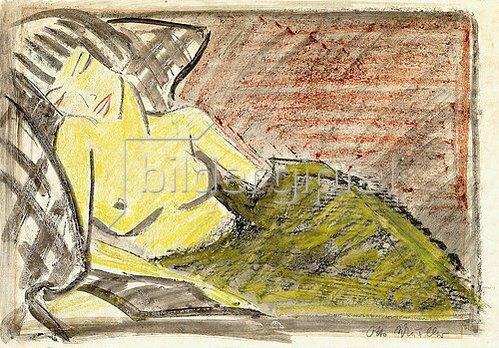 Otto Mueller: Liegende Frau. Um 1925