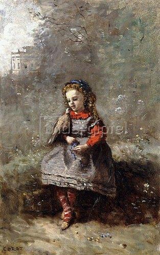 Jean-Baptiste Camille Corot: Leotine Desavary hält eine Taube (Mlle. Leotine Desavary tenant une Tourterelle). 1872