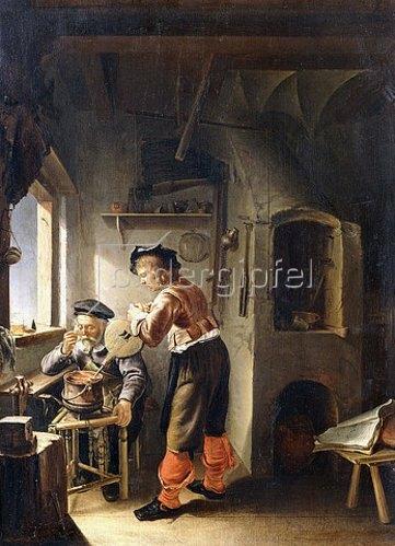 Frans van Mieris d.Ä.: Ein alter Alchemist und sein Assistent in der Werkstatt.