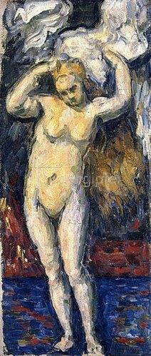 Paul Cézanne: Stehende Badende, sich die Haare trocknend (Baigneuse Debout, s'Essuyant les Cheveux). Um 1869