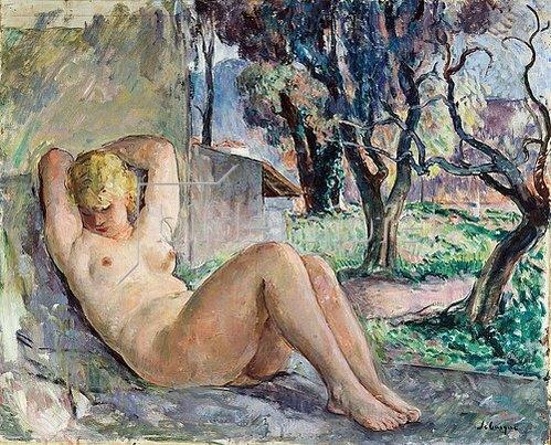 Henri Lebasque: Sitzender Akt in einem Garten (Nu Assise dans un Jardin). Um 1934
