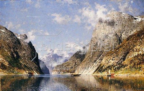 Adelsteen Normann: Ein Fjord in Norwegen.