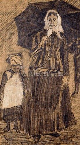 Vincent van Gogh: Sien unter einem Schirm mit einem Mädchen. 1882