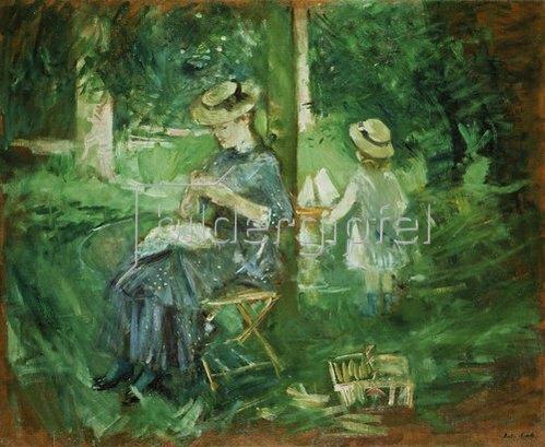 Berthe Morisot: Handarbeitende junge Frau im Garten. 1884