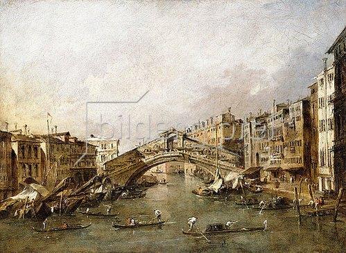 Francesco Guardi: Die Rialto Brücke in Venedig mit Gondeln im Vordergrund.