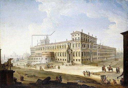 Antonio Joli: Die Piazza del Quirinale, mit der Engelsburg und dem Petersdom im Hintergrund.