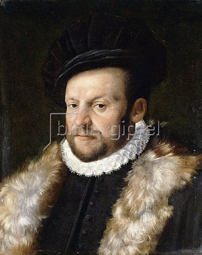 Norditalienische Schule: Porträt eines bärtigen Herren in einer schwarzen Jacke mit einer weißen Halskrause. Um 1560