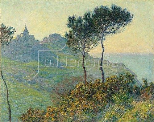 Claude Monet: Die Kirche von Varengeville bei Abendsonne (L'eglise de Varengeville, soleil couchant). 1882