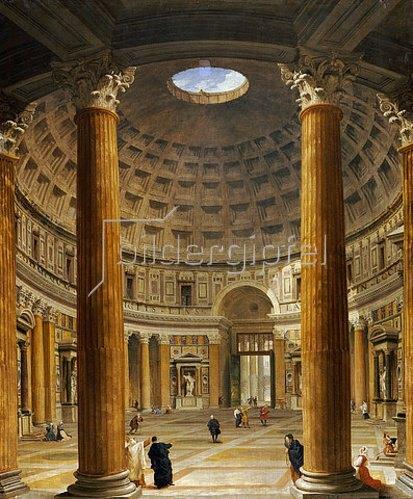Giovanni Paolo Pannini: Interieur des Pantheons in Rom, Blick nach Norden vom Hauptaltar zum Eingang, in Richtung Piazza della Rotonda. 1732