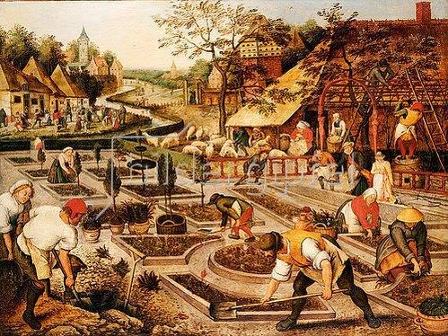 Pieter Brueghel d.J.: Frühling: Gärtner, Schafscherer und feiernde Bauern.