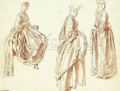 Jean Antoine Watteau: Drei Damen im Profil nach rechts, eine sitzend. Um 1713-14